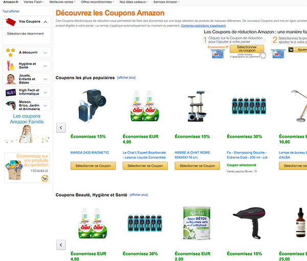 page accueil coupon amazon